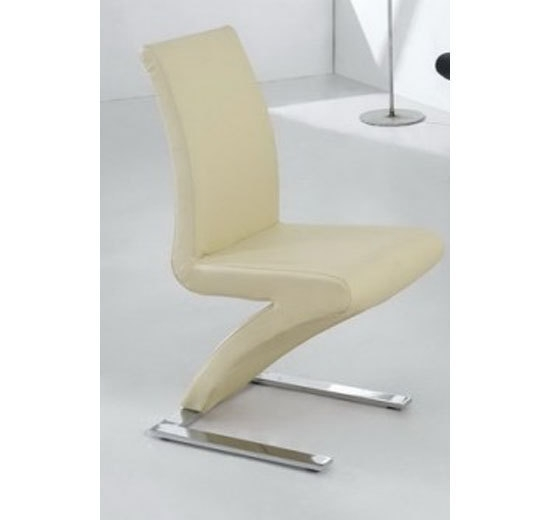8 Dining Chairs Mix Leather Chrome In Cream - Homegenies with Cream Faux Leather Dining Chairs