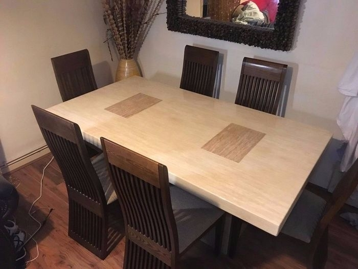 8. Grand Ivory Solid Marble Dining Table With Six Chairs From Scs On pertaining to Scs Dining Tables