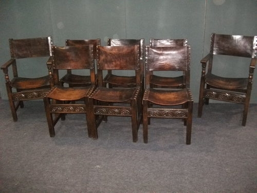 8 Oak And Leather Dining Chairs - Antiques Atlas for Oak Leather Dining Chairs