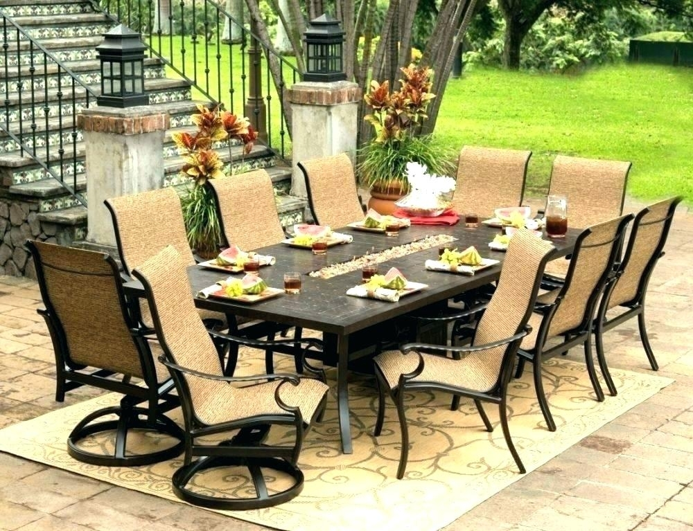 8 Person Dining Set Round Outdoor Dining Table For 8 8 Seat Outdoor Regarding 8 Seat Outdoor Dining Tables (Image 2 of 25)