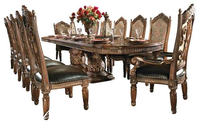 8 Piece Villa Valencia Dining Room Table Set With China – Victorian With Valencia 5 Piece Round Dining Sets With Uph Seat Side Chairs (Image 6 of 25)