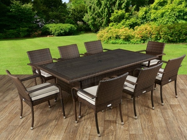 8 Roma Stacking Chairs And Rectangular Dining Table Set – Chocolate Regarding Roma Dining Tables And Chairs Sets (Image 1 of 25)
