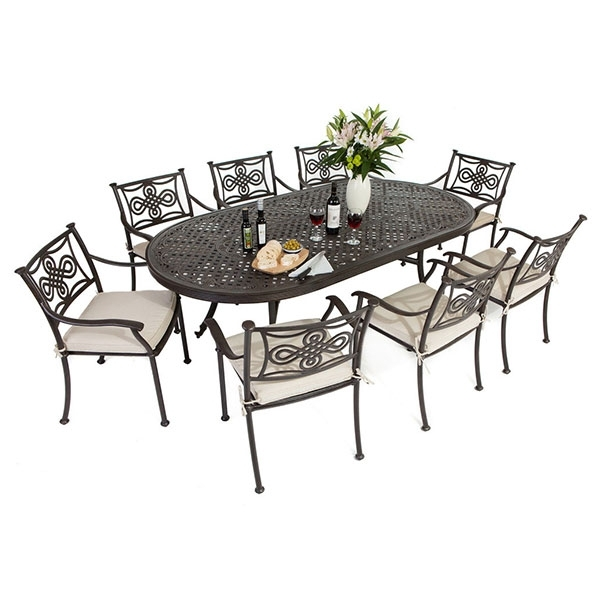 8 Seat Cast Aluminium Outdoor Dining Sets Within Garden Dining Tables And Chairs (Image 2 of 25)