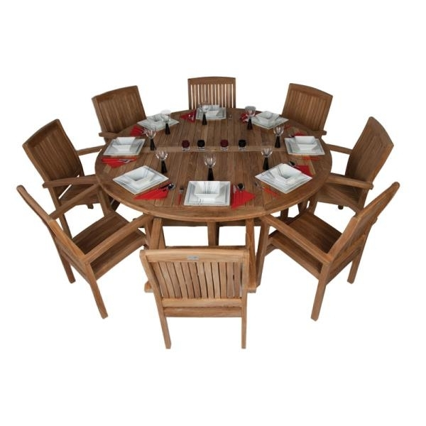 8 Seat Outdoor Dining Set – 180Cm Dia Round Wooden Table Grade A With Regard To 8 Seat Outdoor Dining Tables (Photo 18 of 25)