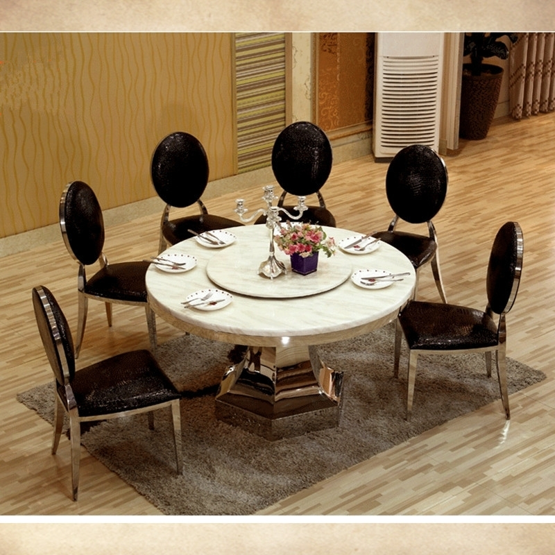 8 Seater Big Round Dining Table With Turntable Marble Top Dining inside Big Dining Tables for Sale