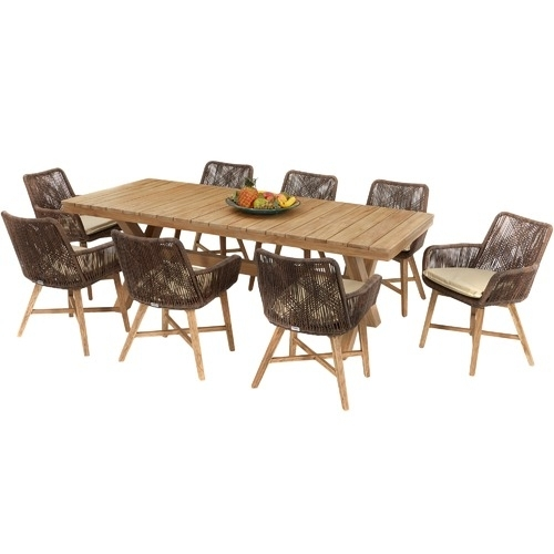 8 Seater Catalina Outdoor Dining Table & Chairs Set | Temple & Webster inside 8 Seat Outdoor Dining Tables