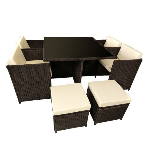 8 Seater Cube Outdoor Dining Table & Seat Set | Temple & Webster with 8 Seat Outdoor Dining Tables