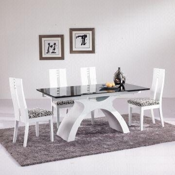 8 Seater Extendable Glass Dinner Table Set Glass Table Top, Wood for Extending Glass Dining Tables And 8 Chairs