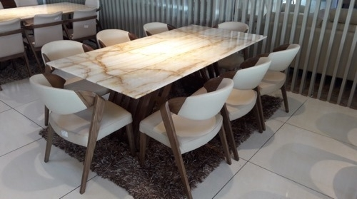 8  Seater Marble Dining Table & L Shape Sofa Set With Head In Sheesham Dining Tables 8 Chairs (Image 1 of 25)