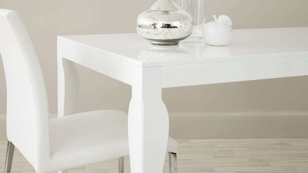 8 Seater Modern Dining Table |White Gloss | Uk Delivery With Regard To High Gloss Dining Furniture (Image 1 of 25)