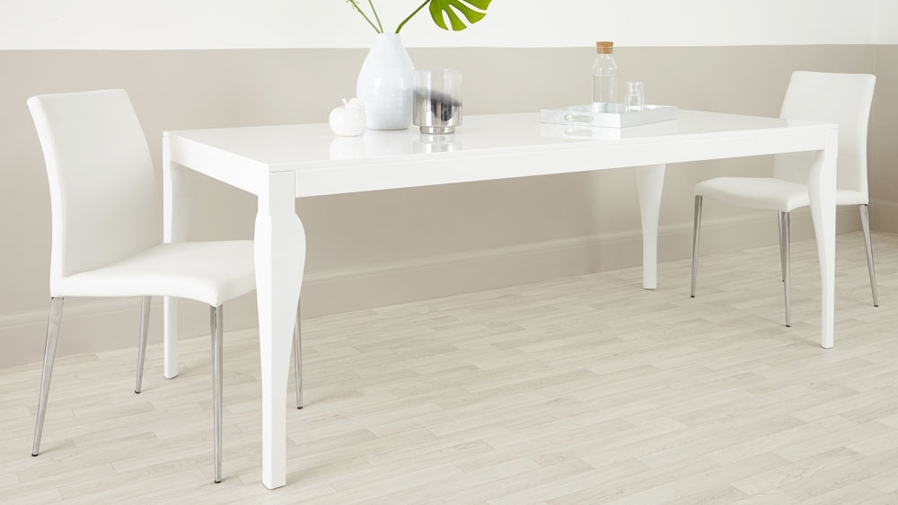 8 Seater Modern Dining Table |White Gloss | Uk Delivery With White Gloss Dining Room Furniture (Image 3 of 25)