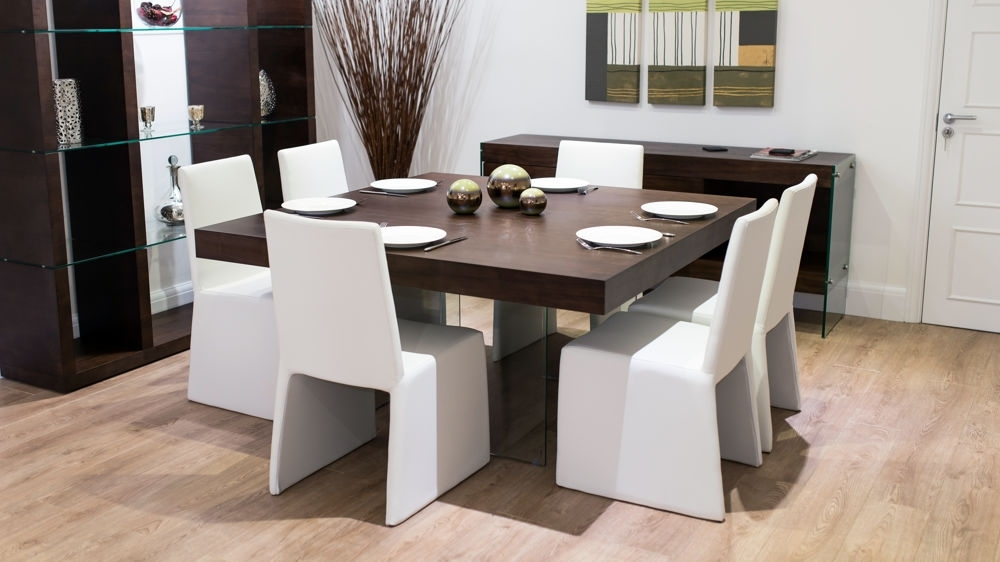 8 Seater Square Dark Wood Dining Table And Chairs | Funky Glass Legs in Dark Wood Square Dining Tables