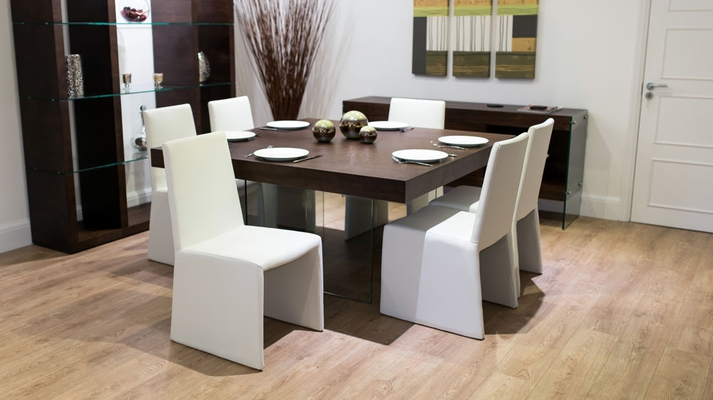 8 Seater Square Dark Wood Dining Table And Chairs   Funky Glass Legs Within Black 8 Seater Dining Tables (Image 8 of 25)