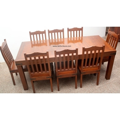8 Seater Wooden Dining Set In Solid Teak | Indian Design Furniture With Regard To Indian Dining Tables And Chairs (Image 2 of 25)
