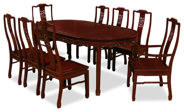 "80"" Rosewood Dining Table Set With 8 Chairs, Dragon Design - Asian with Asian Dining Tables"