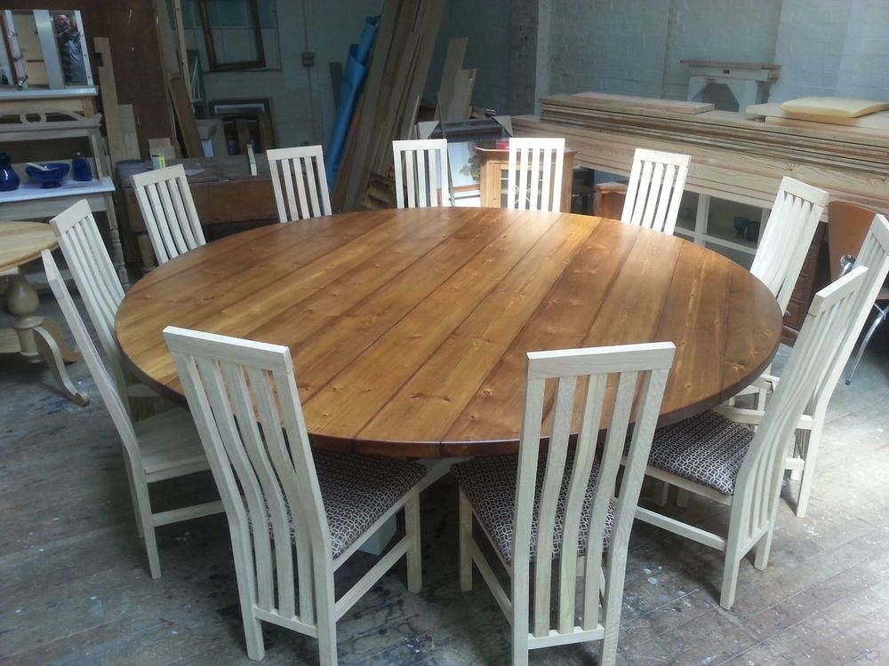 8,10,12, 14 Seater Large Round Hoop Base Dining Table, Bespoke In 8 Seater Round Dining Table And Chairs (Image 7 of 25)