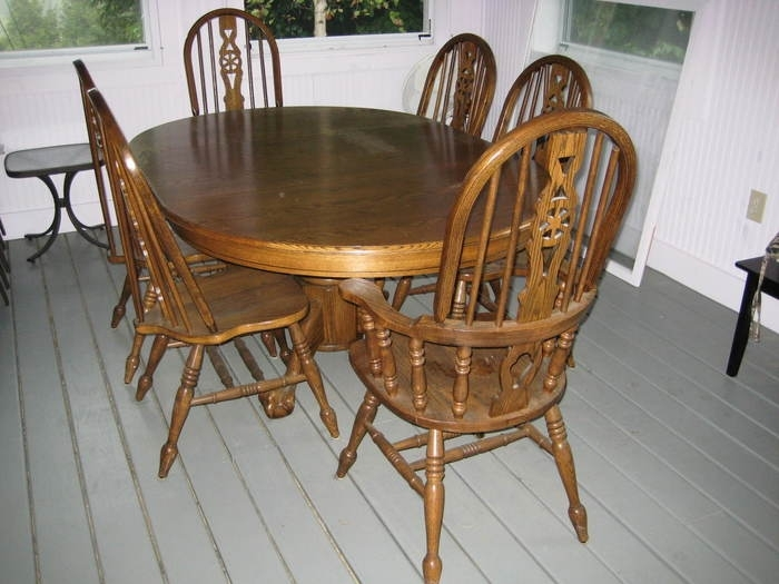 9. Dining Table Used Oak Dining Table Chairs Oak Dining Room Table Throughout Second Hand Oak Dining Chairs (Photo 2 of 25)