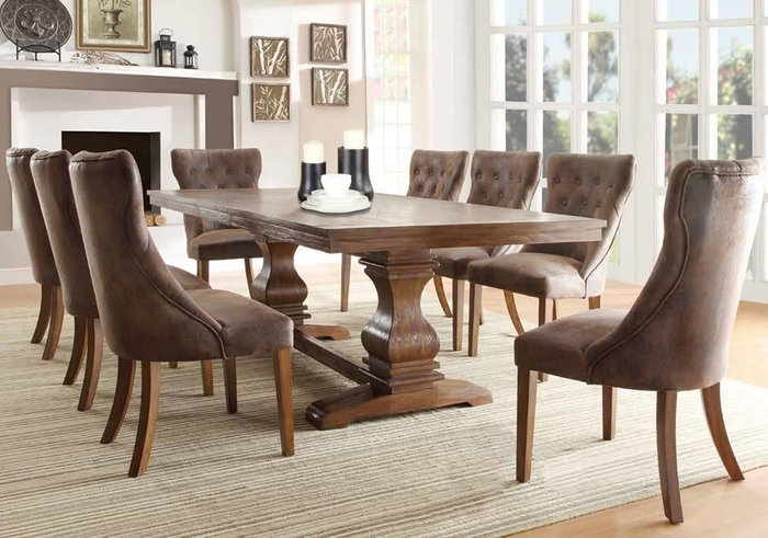 9. Double Pedestal Dining Table In Weathered Oak Finish And Tufted pertaining to Oak Dining Tables and Fabric Chairs