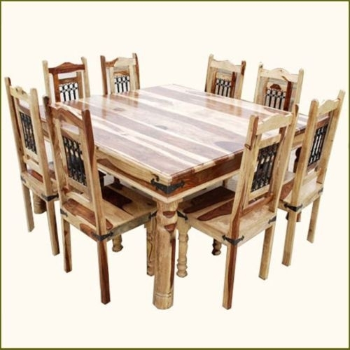 9 Pc Square Dining Table And 8 Chairs Set Rustic Solid Wood In Dining Tables 8 Chairs Set (Photo 12 of 25)