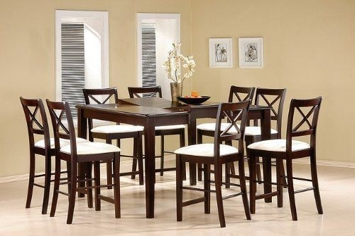 9 Piece Cappuccino Finish Counter Height Dining Set With Butterfly throughout Lindy Espresso Rectangle Dining Tables
