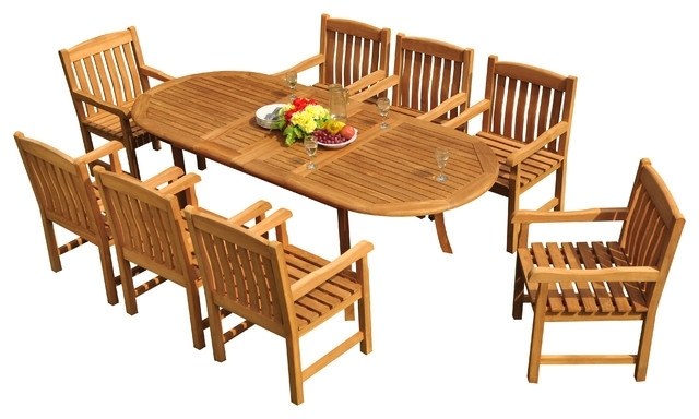 "9 Piece Outdoor Teak Dining Set, 94"" Extension Oval Table, 8 Devon Within Craftsman 9 Piece Extension Dining Sets (View 4 of 25)"