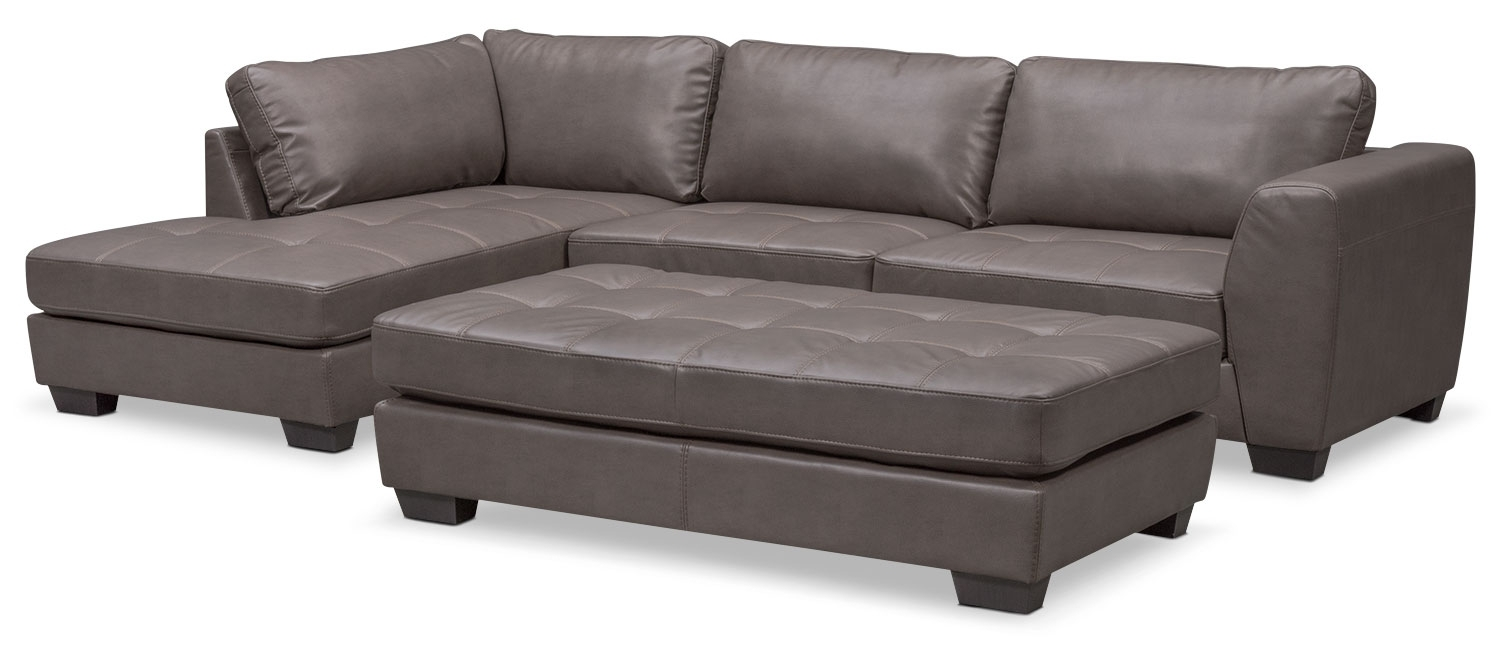 92+ 2 Piece Sectional With Chaise - Salema Leather 2 Piece Sectional in Arrowmask 2 Piece Sectionals With Sleeper & Left Facing Chaise