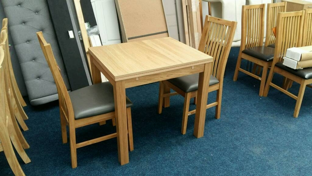 95 – 2/4 Seater Extendable Dining Table And 2 Paris Chairs – New And Throughout 4 Seater Extendable Dining Tables (View 23 of 25)