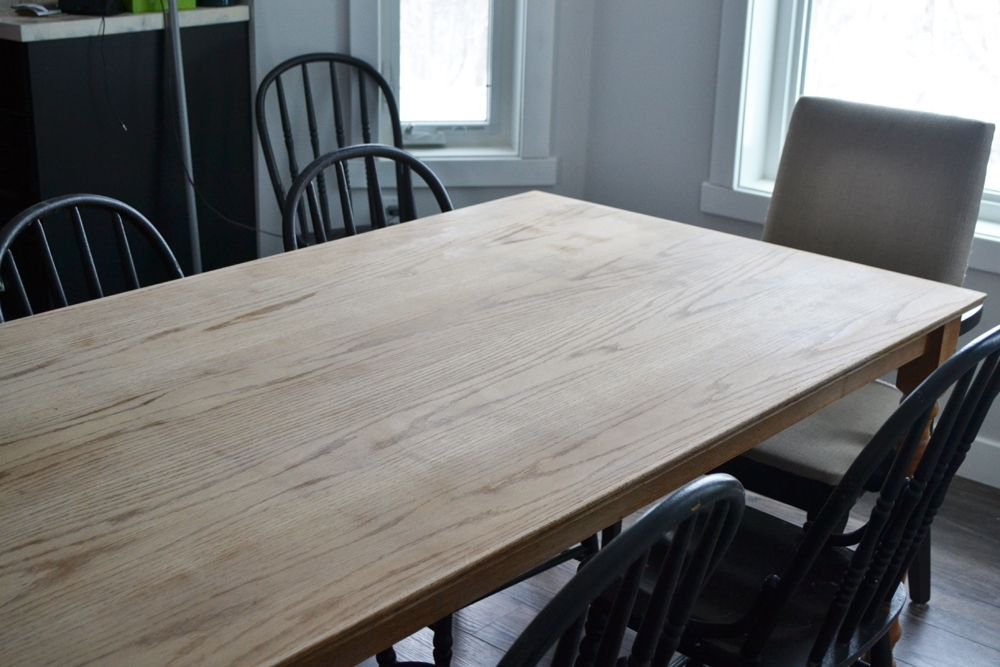 A Shabby Chic Farmhouse Table With Diy Chalk Paint Inside Washed Old Oak & Waxed Black Legs Bar Tables (Image 2 of 25)