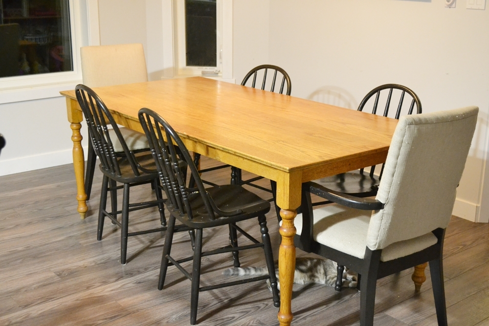 A Shabby Chic Farmhouse Table With Diy Chalk Paint With Regard To Washed Old Oak & Waxed Black Legs Bar Tables (Image 3 of 25)