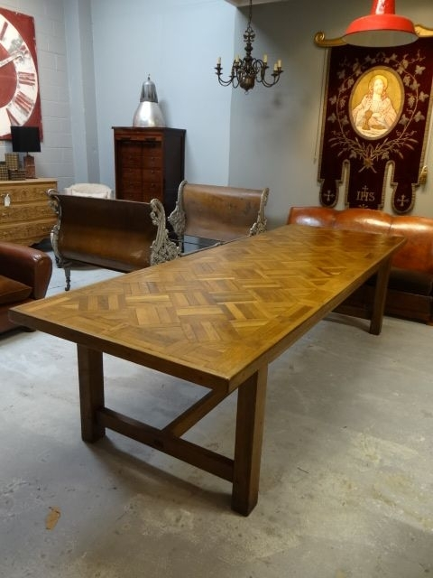 A Stunning Oak Parquet Dining Table That Can Sit 10  12 People (Image 1 of 25)