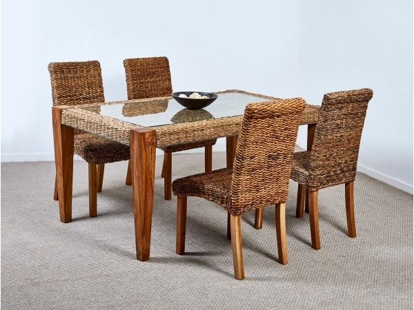 Abaca Milan Dining Table And 4 Chairs Inside Rattan Dining Tables (View 5 of 25)