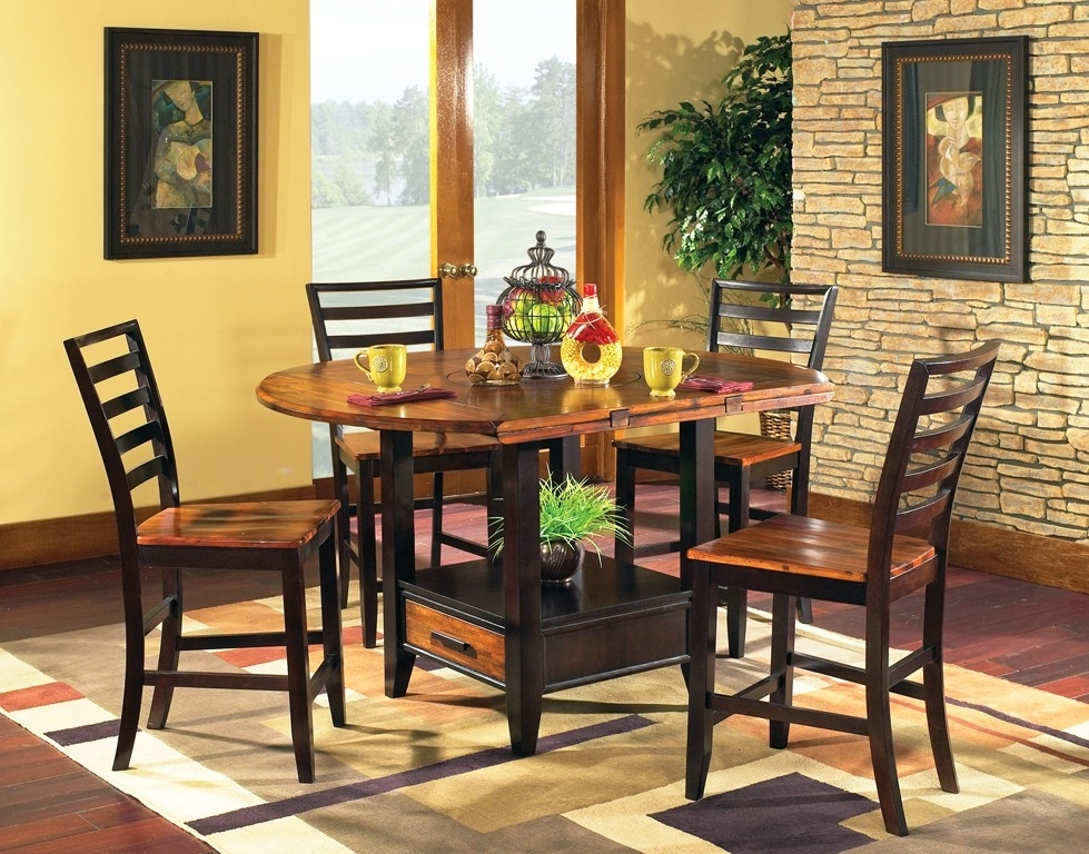 Abaco Drop Leaf Dining Set – Steve Silver Co In Laurent 5 Piece Round Dining Sets With Wood Chairs (Image 1 of 25)