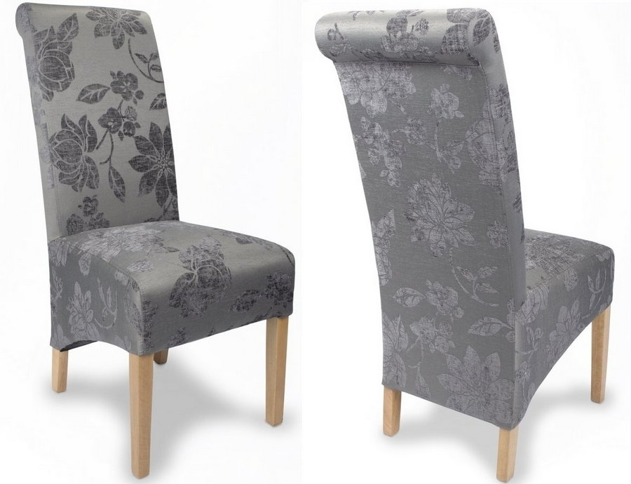 Abdabs Furniture – Fleur Antique Grey Fabric Dining Chairs – Pair Intended For Fabric Dining Chairs (Image 1 of 25)