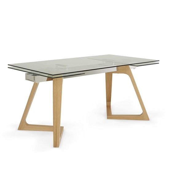 Abena Extendable Glass Dining Table In Clear With Oak Legs Intended For Glass Dining Tables With Oak Legs (Image 3 of 25)