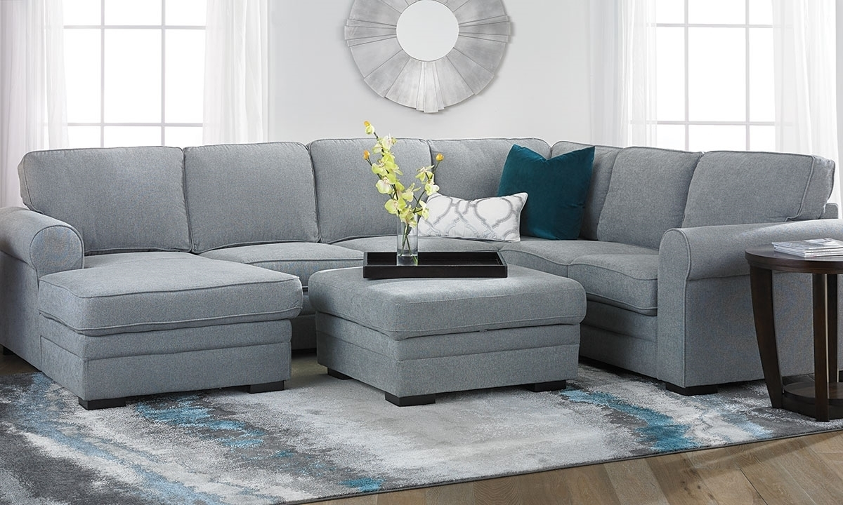 Abigale Roll Arm Sleeper Sectional With Storage Chaise | The Dump In Norfolk Grey 6 Piece Sectionals With Raf Chaise (Image 1 of 25)