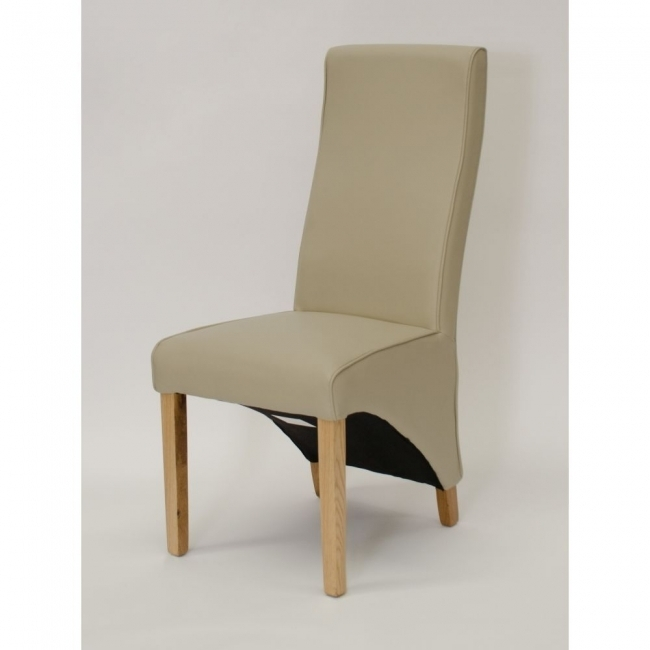 Abina Wave Matt Ivory Leather Set Of Two Solid Oak Furniture Dining Regarding Ivory Leather Dining Chairs (Image 2 of 25)