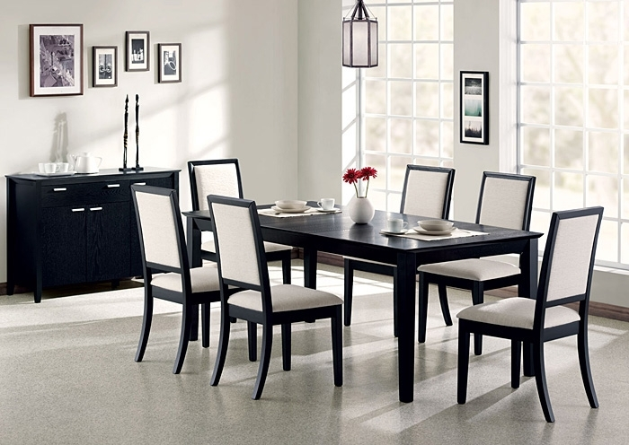 Above & Beyond Furniture Lexton Black Dining Table W/6 Side Chairs In Black Dining Tables (Image 1 of 25)