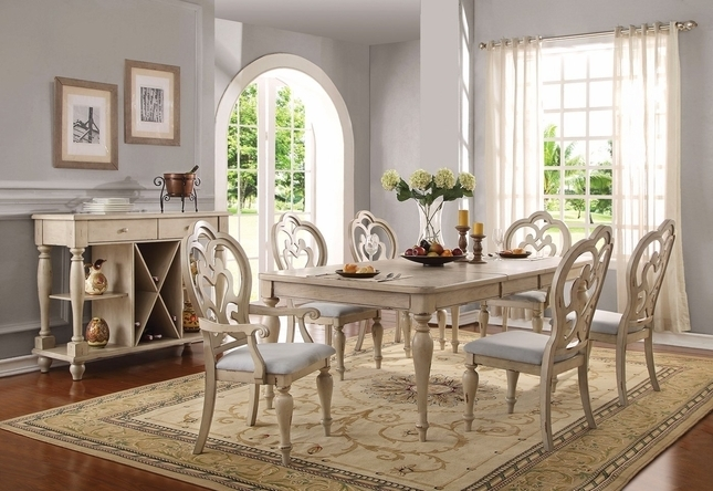 """Absolon French Country Dining Room Set 66"""" 86"""" Table Antique White Throughout Country Dining Tables (View 3 of 25)"""