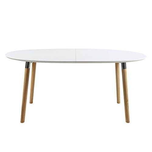 Ac Design Furniture Oval Extending Dining Table Wooden Table Top Pertaining To White Oval Extending Dining Tables (Image 3 of 25)