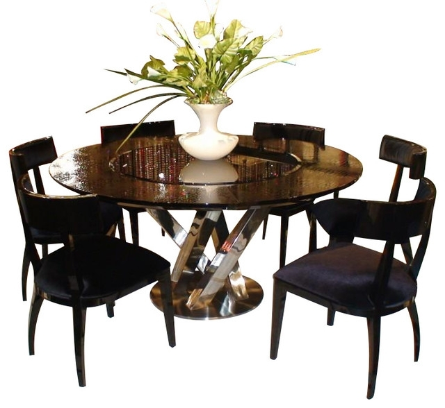 Ac833 180 Black High Gloss Crocodile Textured Glass Dining Table With Regard To Hi Gloss Dining Tables Sets (Image 2 of 25)