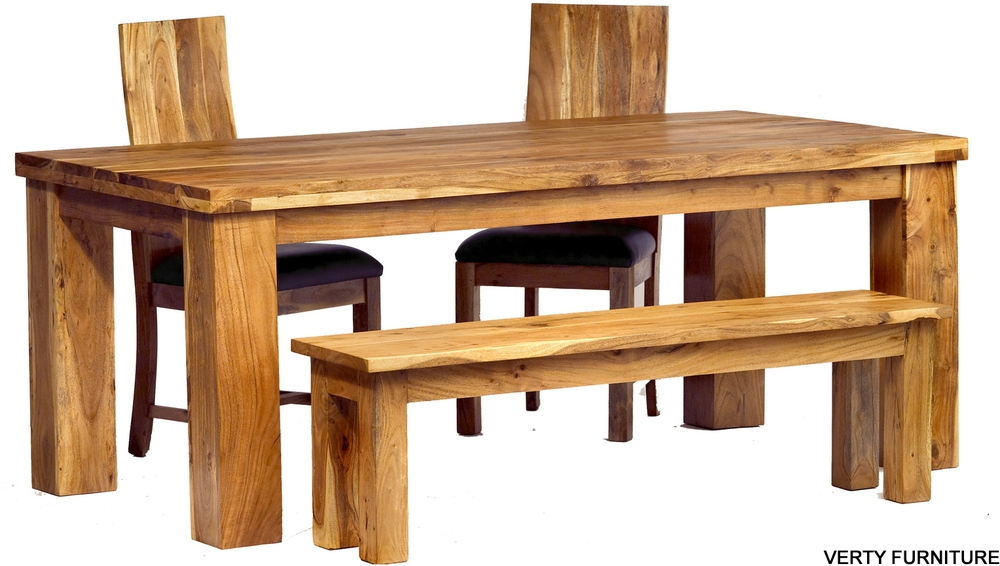Acacia Dining Table – Large With Bench And 4 Chairs   Dining Tables Pertaining To Acacia Dining Tables (View 11 of 25)