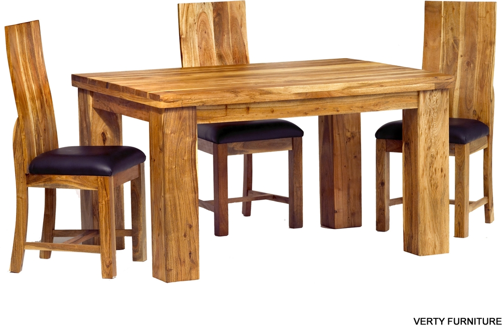 Acacia Dining Table – Small Rustic With 4 Chairs   Dining Tables Within Acacia Dining Tables (View 17 of 25)