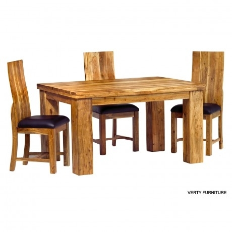 Acacia Dining Table – Small With 4 Chairs – Verty Indian Furniture Intended For Sheesham Dining Tables 8 Chairs (Image 2 of 25)