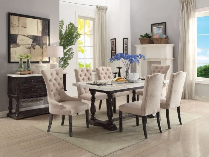 Acme 60820 Gerardo 7Pcs Weathered Espresso Marble Dining Set In Marble Dining Chairs (View 19 of 25)