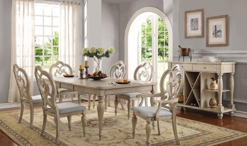 Acme 66060 Abelin Provence Antique White Dining Table Set 7Pcs With Provence Dining Tables (View 13 of 25)