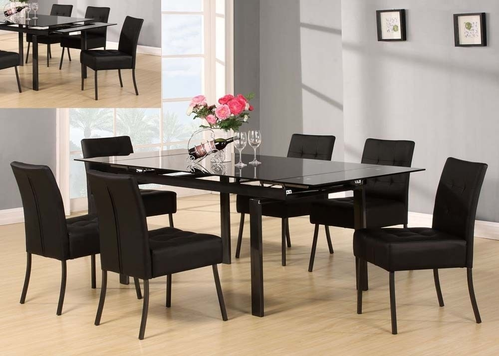 Acme 71010 Parrish Black 7 Piece Glass Dining Set | Furn – Dining With Regard To Caden 7 Piece Dining Sets With Upholstered Side Chair (Image 3 of 25)