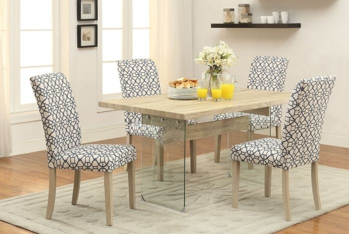 Acme 71905 Glassden 5Pcs Light Oak Clear Glass Dining Table Set Throughout Oak And Glass Dining Tables Sets (Image 3 of 25)
