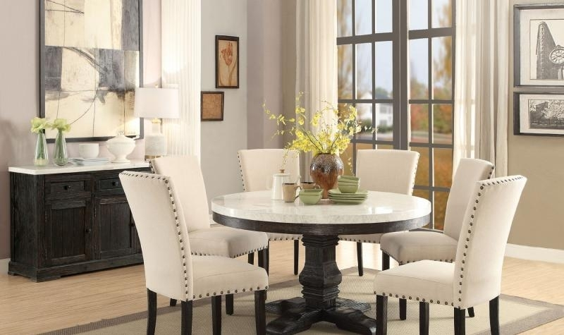 Acme 72845 Nolan Classic White Marble Top Black Round Dining Table For Dark Round Dining Tables (Image 2 of 25)