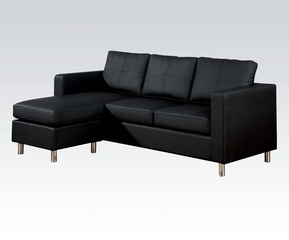 Acme Acme Kemen Modern Reversible Chaise Sectional In Black 15065 Intended For Meyer 3 Piece Sectionals With Raf Chaise (Image 3 of 25)