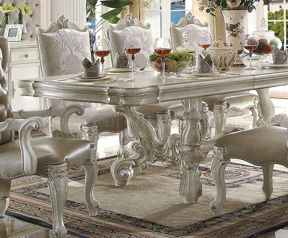 Acme Acme Versailles 9 Piece Pedestal Dining Set In Bone White With Craftsman 9 Piece Extension Dining Sets (View 18 of 25)